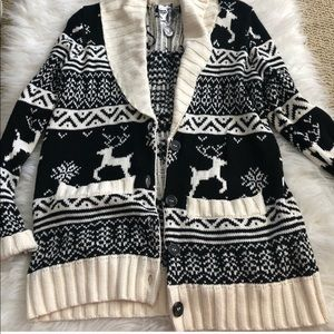 NWT S knitted cardigan forever 21 button up b & w